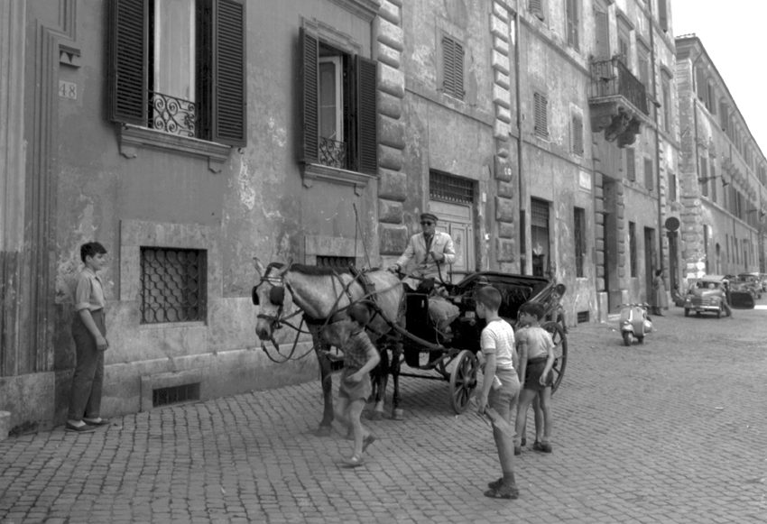Child next to horse and cart