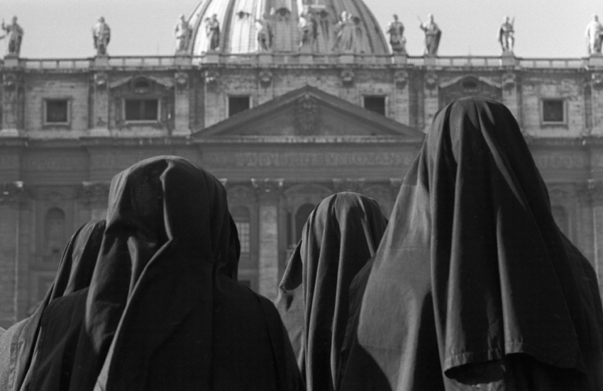 Three nuns on Saint Peters square